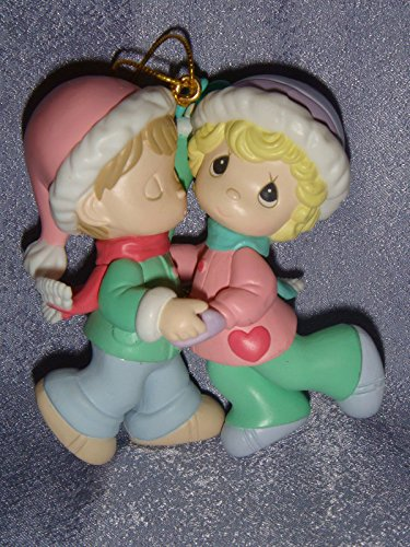 Precious Moments Ornament Home For the Holidays - Boy and Girl With Santa Hats Dancing