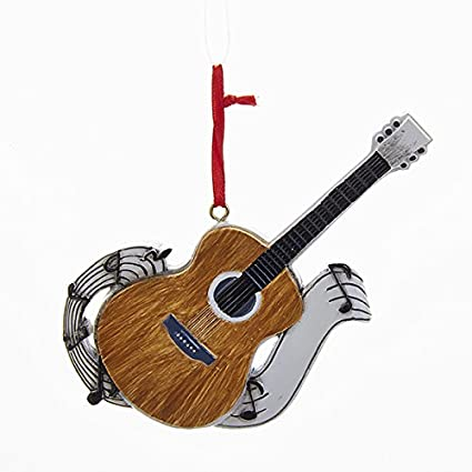 Amazon Com Kurt Adler Acoustic Guitar With Music Notes Christmas