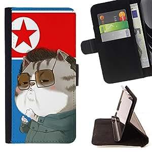 - Cat Cartoon Cute - - Prima caja de la PU billetera de cuero con ranuras para tarjetas, efectivo Compartimiento desmontabl FOR Sony Xperia m55w Z3 Compact Mini Lady Case