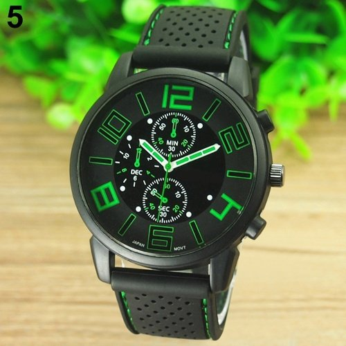Casual Quartz Analog Silicone Stainless Steel Dial Sports WristWatch (green)