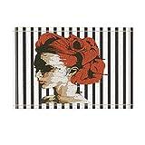 NYMB Watercolor Sex Woman with Red Hair in Black White Stripes Bath Curtain Bath Rugs, Non-Slip Doormat Floor Entryways Indoor Front Door Mat, Kids Bath Mat, 15.7x23.6in, Bathroom Accessories