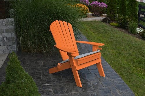 NEW DELUXE 7 SLAT Poly Lumber Wood Folding Adirondack Chair with 2 CUP HOLDERS- Orange- Amish Made USA