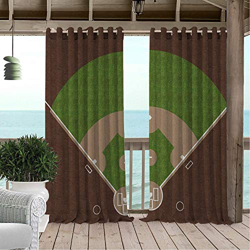 (Gazebo Waterproof Curtains Boys Room American Baseball Field White Mar s Painted on Grass Print Lime Green Chocolate Tan Porch Grommets Decor Curtain 120 by 108 inch)