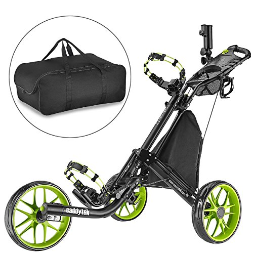 CaddyTek EZ-Fold 3 Wheel Golf Push Cart,golf trolley-Lime with storage bag