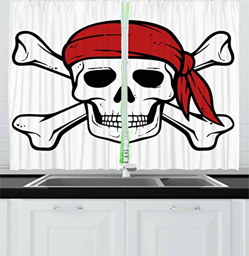 Silky Pirate Bandana (Pirate Kitchen Curtains by Ambesonne, Dead Pirate Skull and Crossbones Red Bandana Scary Bandit Warning Icon Piracy, Window Drapes 2 Panel Set for Kitchen Cafe, 55 W X 39 L Inches, Black White Ruby)