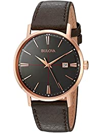 Men's Quartz Stainless Steel and Leather Dress Watch, Color: Brown (Model: 97B154)