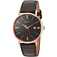 Bulova Men's Quartz Stainless Steel and Leather Dress Watch, Color: Brown (Model: 97B154)
