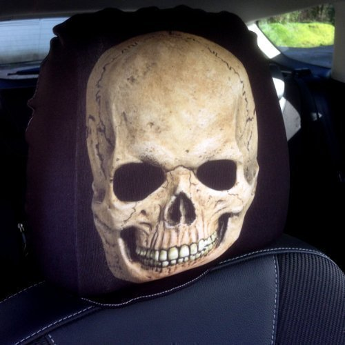 CAR SEAT HEAD REST COVERS 2 PACK BROWN SKULL DESIGN MADE IN YORKSHIRE
