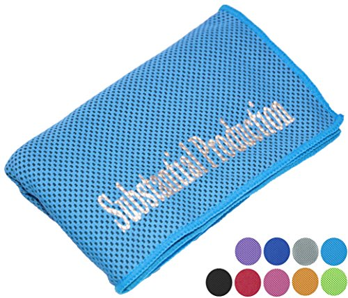 "Sports Outdoors And Indoors Exercise Workout Running, Hiking, Yoga Cooling Towel For Instant Relief - 40"" Long 12"" Wide Ultra Soft Microfiber Breathable Mesh Towels (Blue, 40""x12"")"