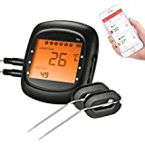 Smart Wireless BBQ Thermometer,TOPELEK Bluetooth Meat Thermometer Remote Digital Cooking Food Thermometer With Large Backlit Display,Instant Read-Out,Magnetic Mounting Design,6 Probe Port Alarm Monitor for Kitchen,Grill, BBQ,Steak,Turkey for IOS & Android (Dual Probes)