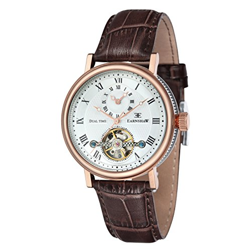 Thomas Earnshaw Men's 'BEAUFORT' Mechanical Hand Wind Stainless Steel and Leather Dress Watch, Color:Brown (Model: ES-8047-05)
