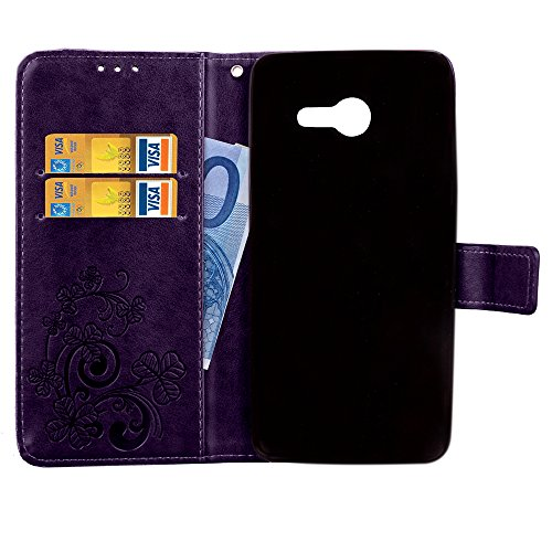 Wallet Case for Samsung Galaxy J5 2017,Shinyzone Embossed PU Leather Flip Cover Handmade Bling Sparkly Diamond with 3D Flower Magnetic Closure Elegant Cover for Samsung Galaxy J5 2017,Purple by ShinyZone (Image #3)