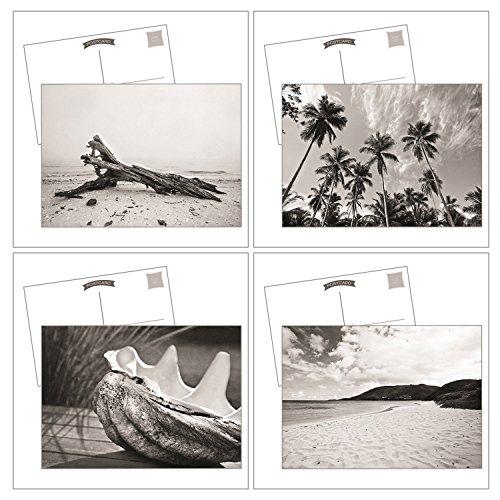 (Beach Postcard Set Black and White Coastal Photos Set of 4 Blank Cards)