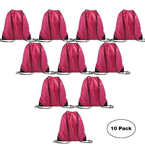 LIHI Bag Promotional Drawstring Backpack Basic Gym Sack Reusable Sport Cinch  Polyester Tote Bag For Outside Giveaways and Storage Use 10PCS Magenta fce7cad1895a8