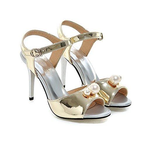 AllhqFashion Women's PU Solid Buckle Open Toe High-Heels Heeled-Sandals Gold wsDtW