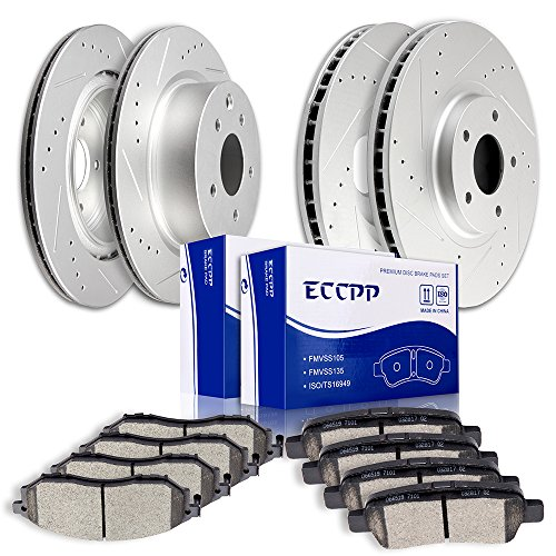 Brake Rotors Pads kits,ECCPP Slotted Drilled Rotors and Ceramic Disc Brake Pads Set for Nissan 350Z 370Z,Infiniti EX35 EX37 G25 G35 G37 M35 QX50 ()
