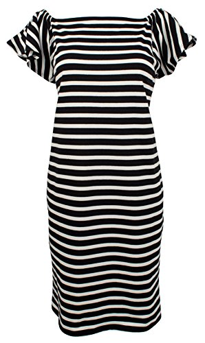 Lauren by Ralph Lauren Women's Off-The-Shoulder Striped Dress-PB-M (Striped Flutter Sleeve Dress)