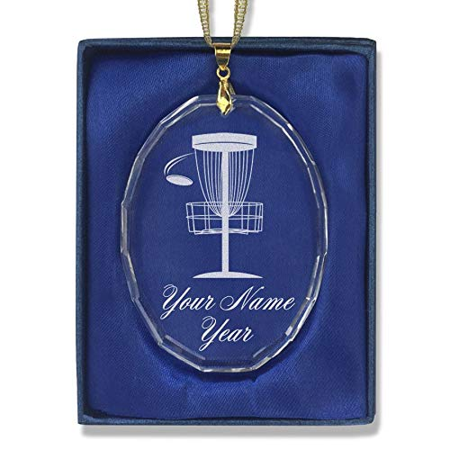 - SkunkWerkz Christmas Ornament, Disc Golf, Personalized Engraving Included (Oval Shape)