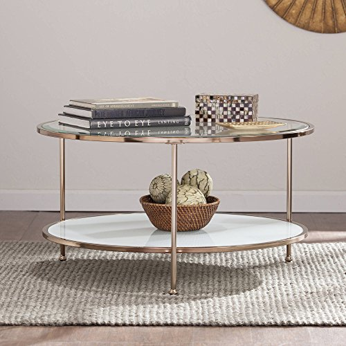 Round Coffee Table, Metallic Gold Finish, Metal and Glass Composition, White Shelf, Glam Style, Iron, Living Room Furniture, Bundle with Our Expert Guide with Tips for Home Arrangement