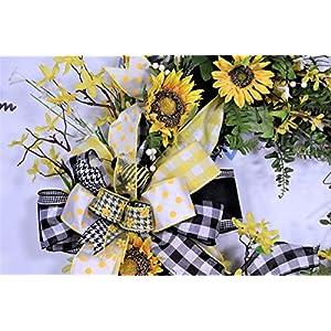 Sunflower Wreath, Summer Door Decor, Bumble Bee Decorations, Buffalo Plaid Farmhouse Wall Decor, Forsythia Floral, Grapevine Base, Spring 5