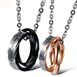 Yolanda 'I Will Always Be With You'' Couple Rings Necklace Stainless Steel Jewelry Gift For His And Her