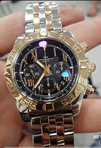 SANLUX 高級ブランド new クロノグラフメンズストップウォッチサファイアクリスタルシルバーゴールドステンレススチールブラックレザー黒日付腕時計 aaa +
