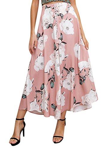 Missy Chilli Women's Floral Print Drawstring Split Maxi Long Skirt (One Button Print Skirt)