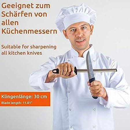 ECENCE Afilador con diamante, afilador de cuchillos profesional con revestimiento de diamante, varilla para afilar cuchillos, para cocina, hogar longitud de la hoja aprox. 30cm
