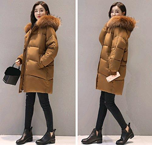 Giallo Di Eleganti Giacca Con Autunno Spessore Outwear Wanyang E Inverno Cappotto Cappuccio Lunghi Giacche Donna Lungo qfxYwSZ