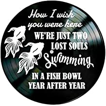 Pink Floyd Wish You Were Here song Lyrics on a Vinyl Record Album Wall Art