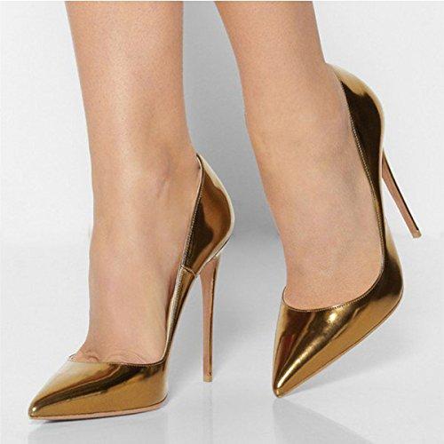 FSJ Women Fashion Pointed Toe Pumps High Heel Stilettos Sexy Slip On Dress Shoes Size 4-15 US Gold LZc5jC