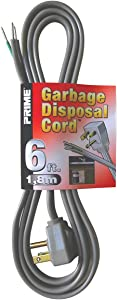 Prime PS210606 Garbage Disposal Power Supply Cord, Gray, 6-Feet