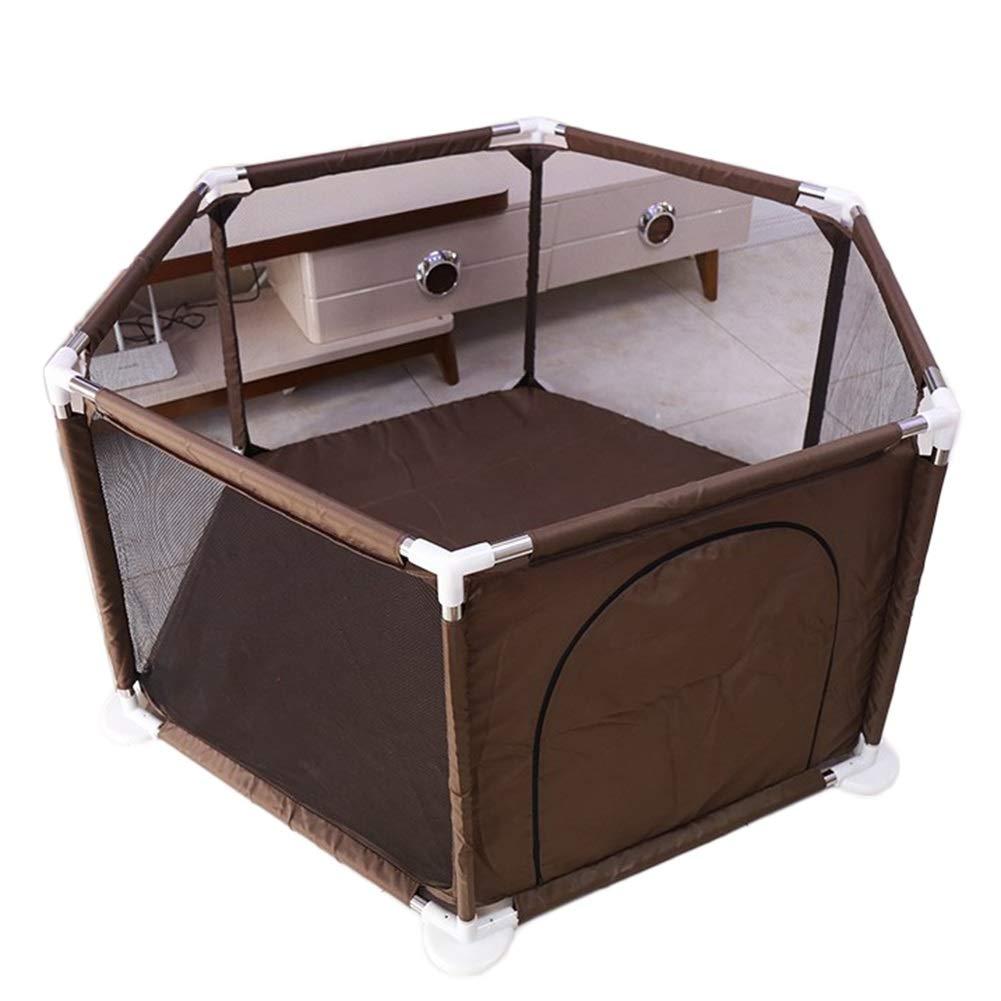 ポータブルベビーサークル、幼児用6パネル遊び場、自立型セキュリティフェンスキッズアクティビティセンター (色 : Brown)  Brown B07QKDBG66