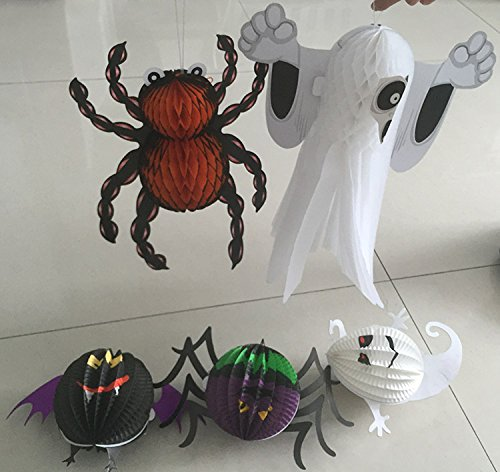 5Pcs 3-D Spirit Ghost Spooky Ghost Bat Hanging Spider and Orange Spider Hanging Pendant Halloween Decorations Lantern Garden Home Yard Party Props Gift for Kids (5)