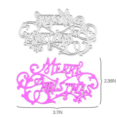 [Enipate Carbon steel Metal Merry Christmas Stencils Cutting Dies DIY Silver Decor 1 Pcs] (2016 Womens Halloween Costumes Diy)