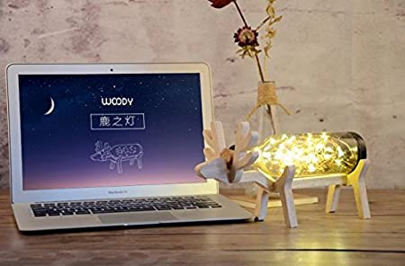 Amazon.com: Joyisland Lighting Creative Deer Lamp Cute LED Bottle Bedroom Table Lamp Desk Lamps Light Made of Wood and Glass with Switch for Lighting ...