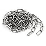 uxcell Pet Dog Training Clothes Hanging 304 Stainless Steel Coil Chain Silver Tone M2.5x6.6Ft