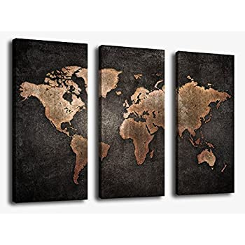 Amazon canvas wall art world map wall decor 3 piece large map canvas wall art world map wall decor 3 piece large map canvas art vintage grunge gumiabroncs Image collections