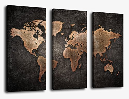 Grunge Art (Canvas Wall Art World Map Wall Decor - 3 Piece Large Map Canvas Art Vintage Grunge Rustic Abstract Painting Background Pictures Modern Artwork for Home Office Decoration)