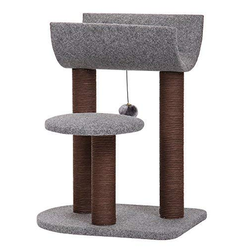 PetPals Cat Tree Cat Tower for Cat Activity with Scratching Postsand Toy Ball,Gray (Cat Scratching Post Tall)