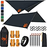 Rain Fly EVOLUTION 12x10/10x10 Hammock Waterproof Tent TARP & Survival Bracelet - 22 pcs - Lightweight - Backpacking Approved - Perfect Hammock Shelter - Multiple Colors