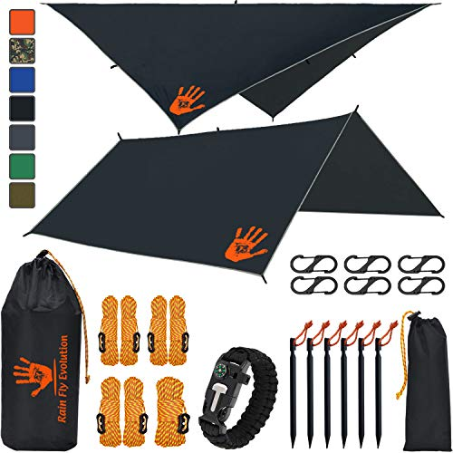 "Rain Fly EVOLUTION 10 x 10 ft Hammock Waterproof Black Tent TARP 170"" Centerline & Survival Bracelet - 22 pcs - Lightweight - Backpacking Approved - Perfect Hammock for Camping - Multiple Colors"