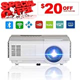 1080 Projector Screen - Portable Mini Projector Wireless WiFi, Home Cinema Theater 1500 Lumens Support Full HD 1080p 720p, Ceiling Mounted Home Projector for Indoor Outdoor Movie Game Party Gift, Bluetooth Video Projector
