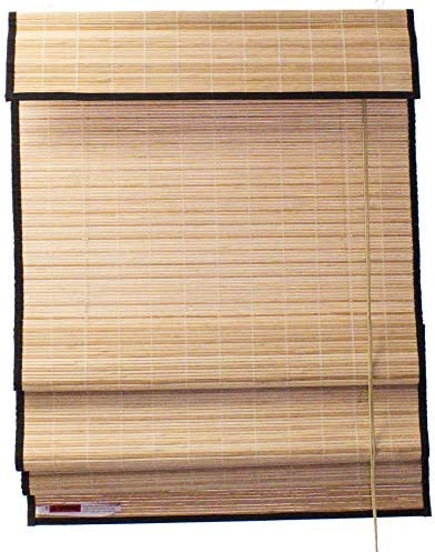 Seta Direct, Natural Bamboo Slat Roman Shade with Valance 72-Inch Width by 84-Inch Length Black