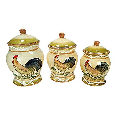(Rooster Design 3 Piece Ceramic Canister Set)