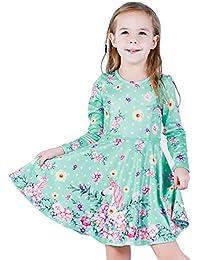 Girls Party Casual Unicorn Printed Twirly Longsleeve Dress Flower Unicorn Fall XL