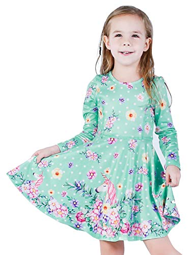LaBeca Girls Party Casual Unicorn Printed Twirly Longsleeve Dress Flower Unicorn Fall M