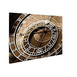 Ashley Giclee Astronomical Clock In Prague, Wall Art Photo Print On Metal Panel, Sepia, 24x30, Floating Frame, AG5574667