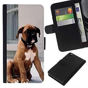 WINCASE Cuadro Funda Voltear Cuero Ranura Tarjetas TPU Carcasas Protectora Cover Case Para HTC DESIRE 816 - cachorro de pelaje marrón perro de raza boxer