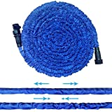 Garden Hose, 75.5FT Strongest Flexible Lightweight Expandable Double Layer Latex Retractable Collapsible Water Hose, Expands to 3 Times Length Best Pressure Washer for Car Cleaning Lawn Watering, Blue
